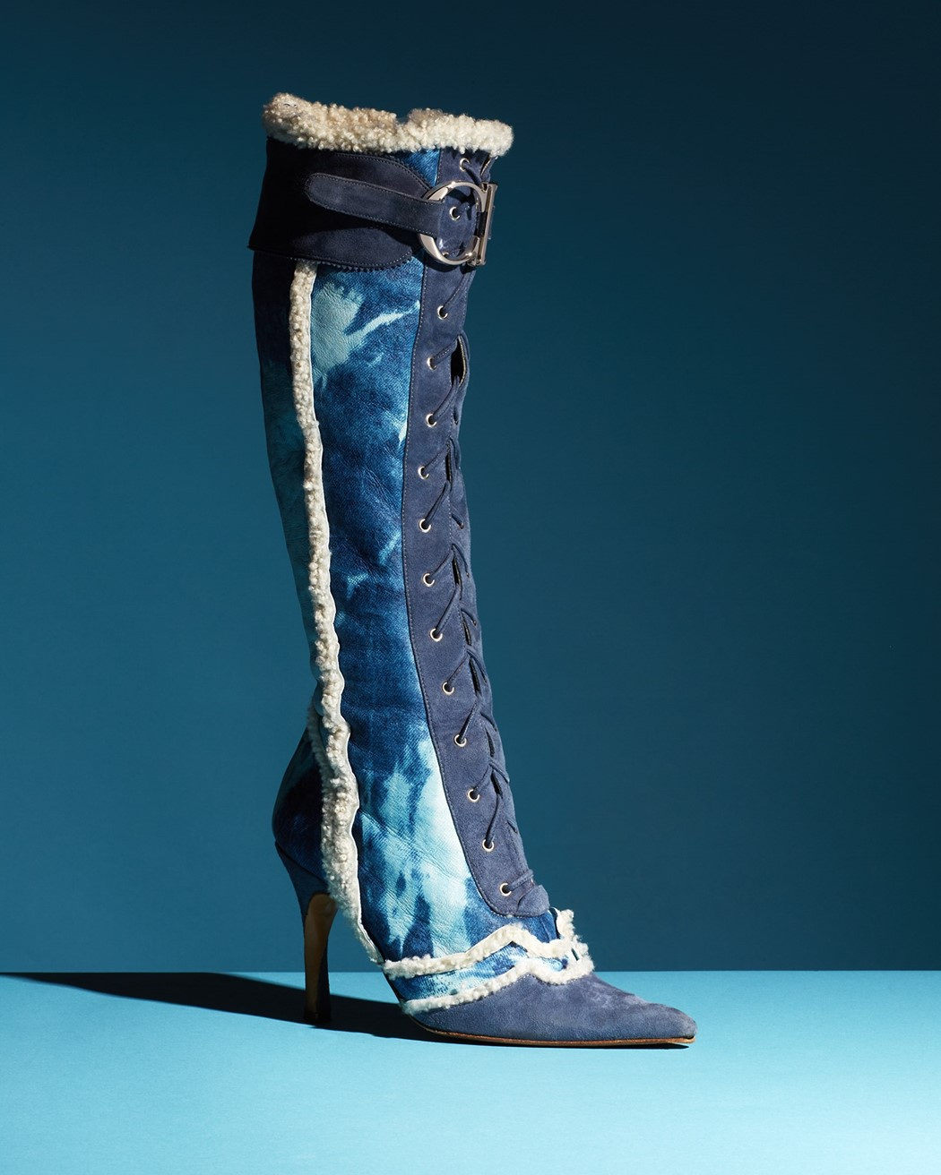 """Denim"" finish shearling boots, John Galliano"