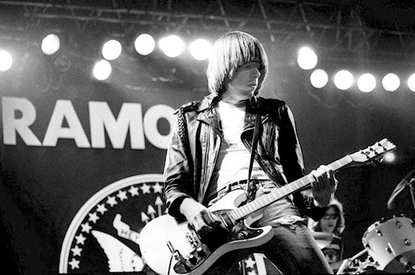 Jonny Ramone in his trademark leather jacket