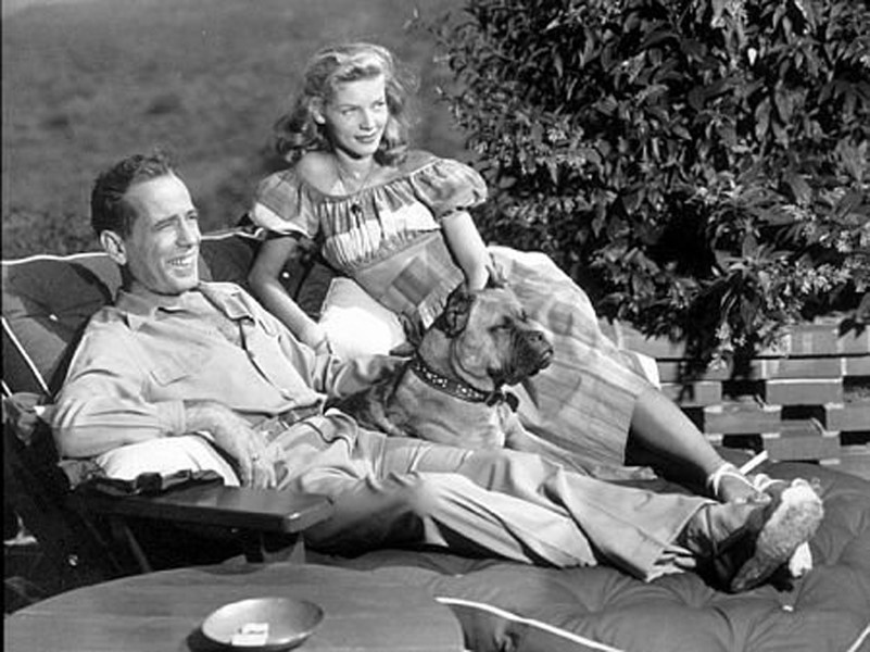 Humphrey Bogart and Lauren Bacall with their pet boxer, Harv
