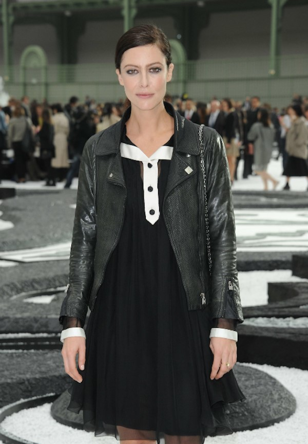 Anna Mouglalis in her Chanel leather jacket