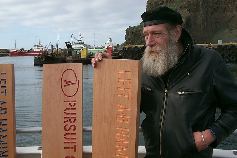 Lawrence Weiner about to leave port in Reykjavik to jettison