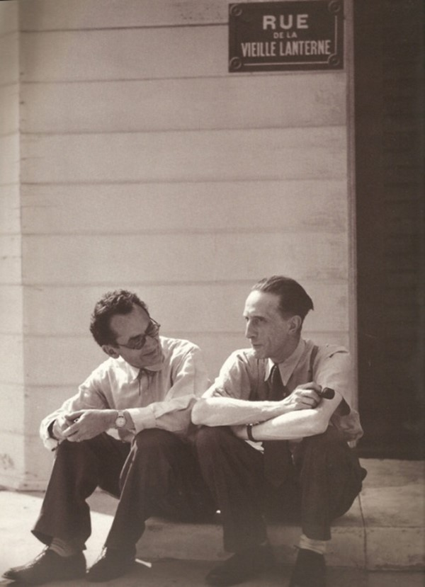 Man Ray and Marcel Duchamp on a Paris stage set in Hollywood