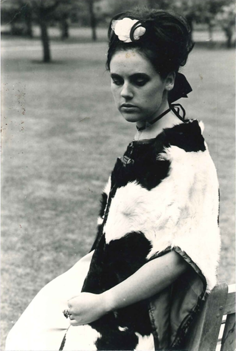 Suzy Menkes in homemade cow cape