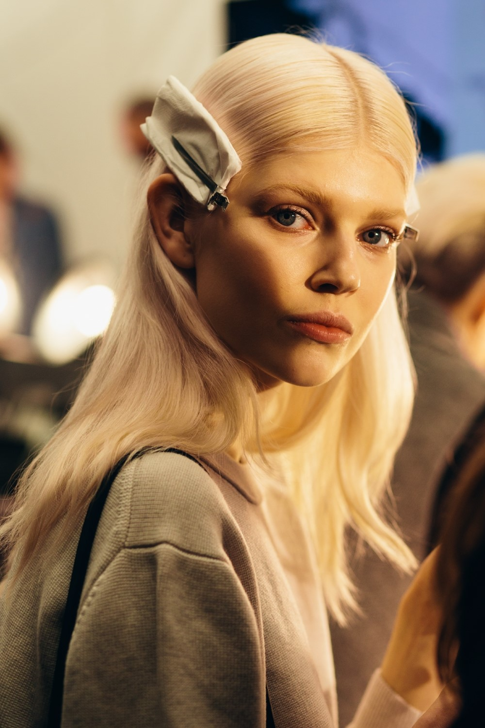 Ola Rudnicka backstage at Tommy Hilfiger A/W14