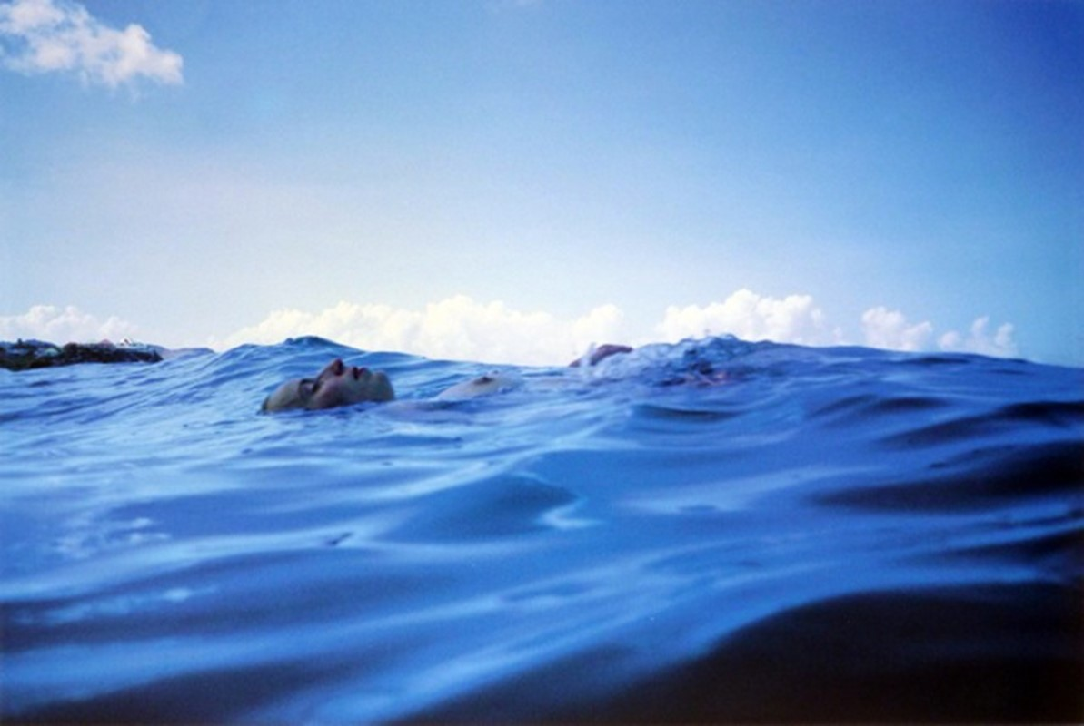 Christine Floating in the Sea, St Barth's, 1999