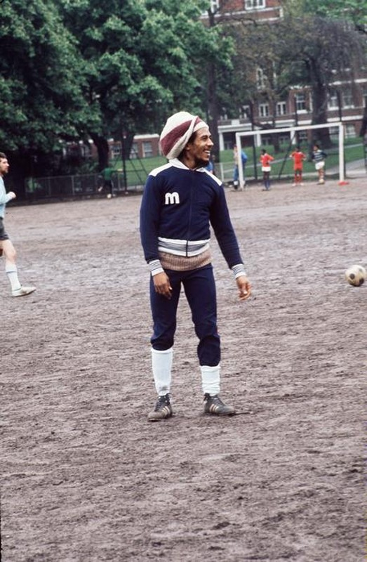 Bob Marley playing football in Battersea Park, 1977