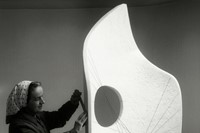 Barbara Hepworth working on Curved Form, Bryher II