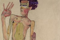 Egon Schiele, Kneeling Nude with Raised Hands (Self-Portrait
