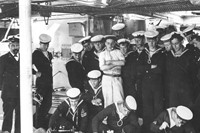 Sailors with sewing machines - archive photo