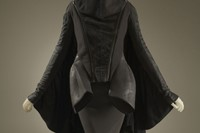 Rick Owens, batwing jacket and skirt, black denim, wool felt