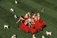 Valentino surrounded by models and pugs, by Jean Paul Goude