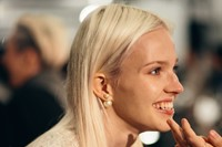 Sasha Luss backstage at Tommy Hilfiger A/W14