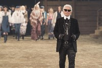 Karl Lagerfeld on the Chanel Métiers d'Art runway