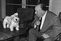 Hitchcock with a Sealyham terrier, 1940s