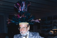 Dr. Seuss wearing one of his hats