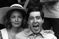 Diane Keaton and Al Pacino on the set of The Godfather, 1972