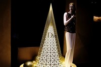 Dior Christmas tree in the lobby of Le Cheval Blanc
