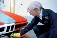 Andy Warhol painting his BMW Art Car, 1979