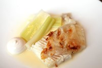 Turbot, leeks and smoked roe
