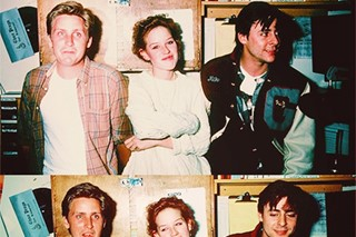 Emilio Estevez, Molly Ringwald and Judd Nelson on the set of