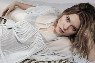 Léa wears silk crépon dress by Chloé; satin bodysuit (worn u