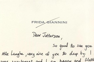 A note from Frida Giannini to editor in chief, Jefferson Hac