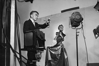 Horst directing a fashion shoot with Lisa Fonssagrives.1949,