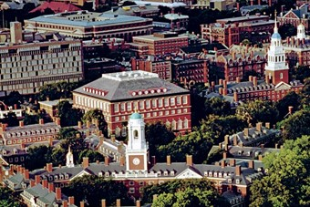 An aerial view of the residential area of the Harvard Univer