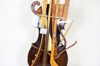 Ken Butler, Pool Cue Archery Bow Cello, 1981