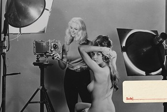 Glamour on set, shooting Bunny Yeager's Nude Camera, 1962