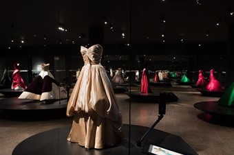 First floor gallery at the Charles James exhibit