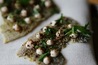 Crispy cod skin with parsley