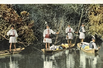 Seminole Indian family in dugout canoe, Miami River, Florida