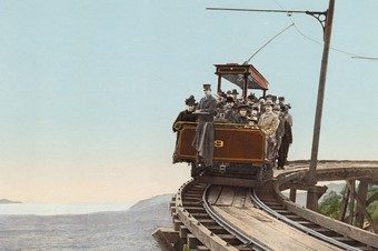 Mount Lowe Railway, on the circular bridge, California, phot