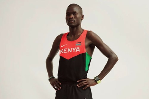 Racing singlet worn by Kenyan marathoner Abel Kirui - the fi