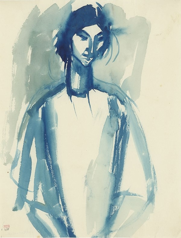 Amadeo Modigliani, Adrienne, 1909, blue ink wash on paper