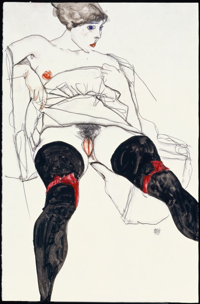 Egon Schiele, Woman with Black Stockings, 1913