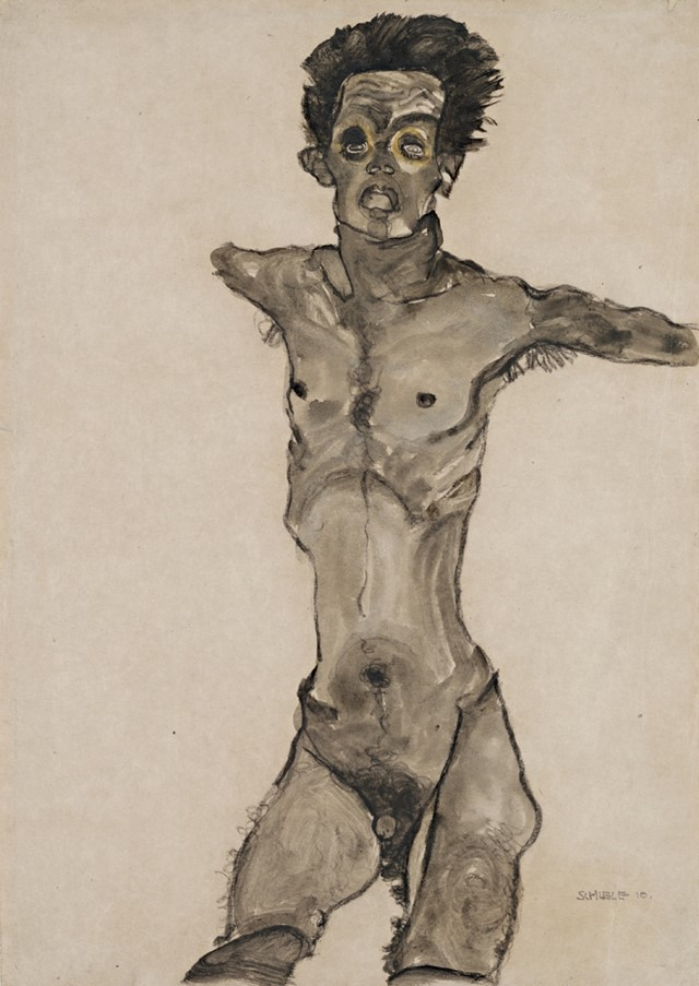Egon Schiele, Nude Self-Portrait in Gray with Open Mouth, 19