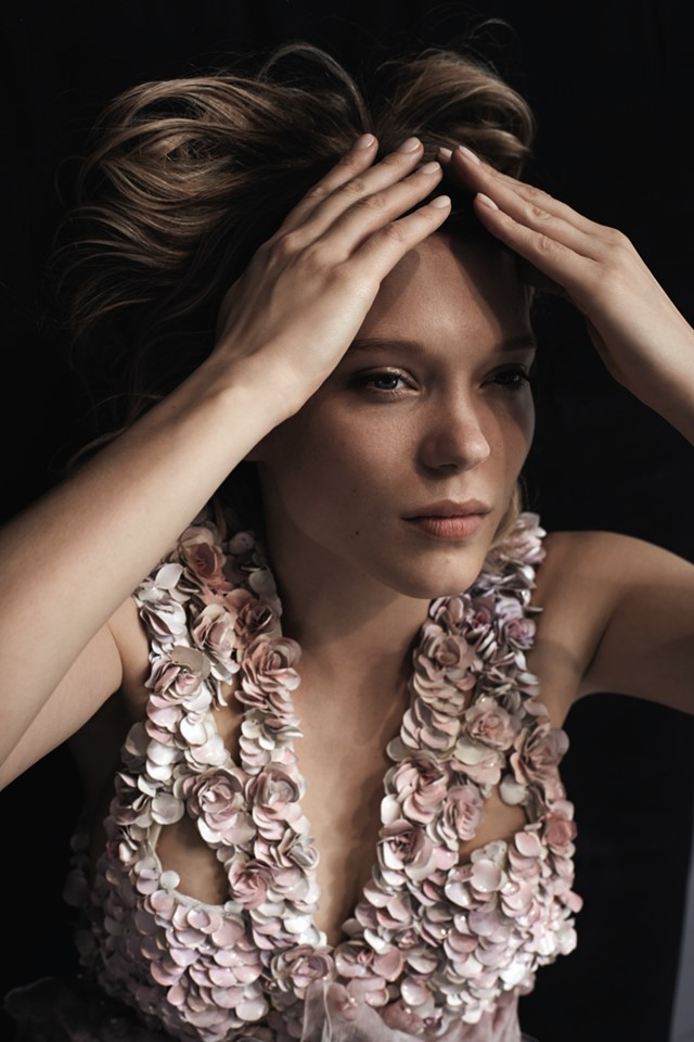 Léa wears 3D floral embroidered chiffon dress by Alexander M
