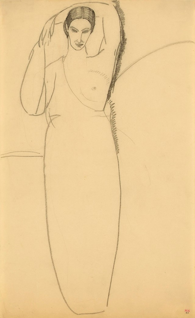 Modigliani, Standing Woman, Left Breast Bared, c.1911