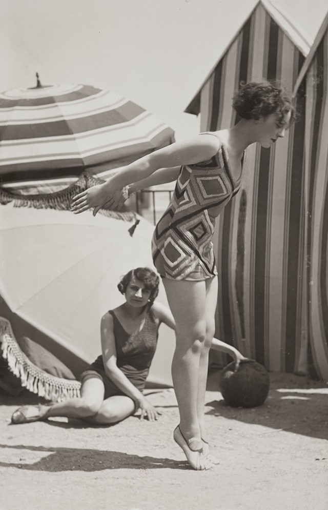 Two fashion models in bathing suits, c.1929