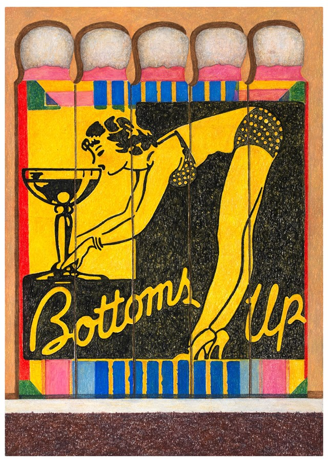 Aaron Kasmin, Bottoms Up, 2016. Coloured pencil, 3