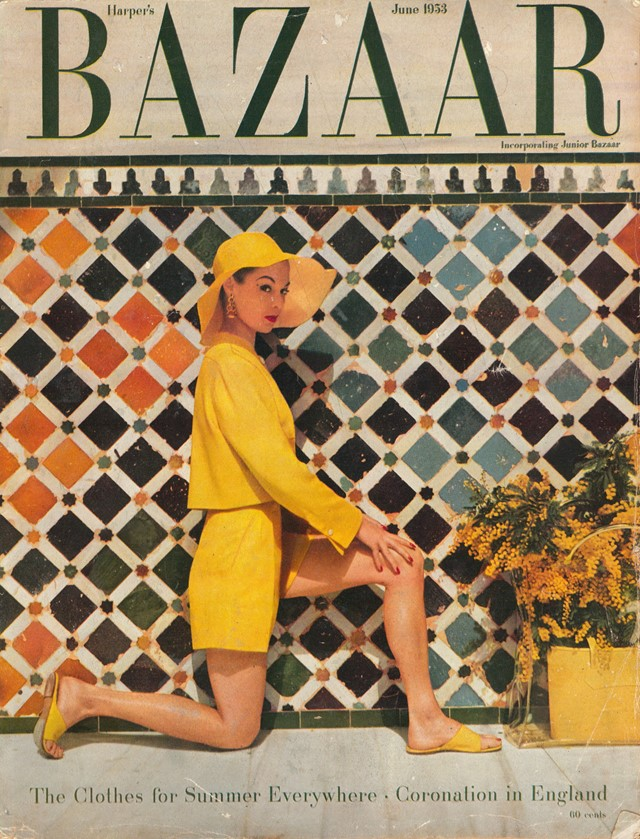 Harpers Bazaar Cover June 1953 Jean Patchett Fashi