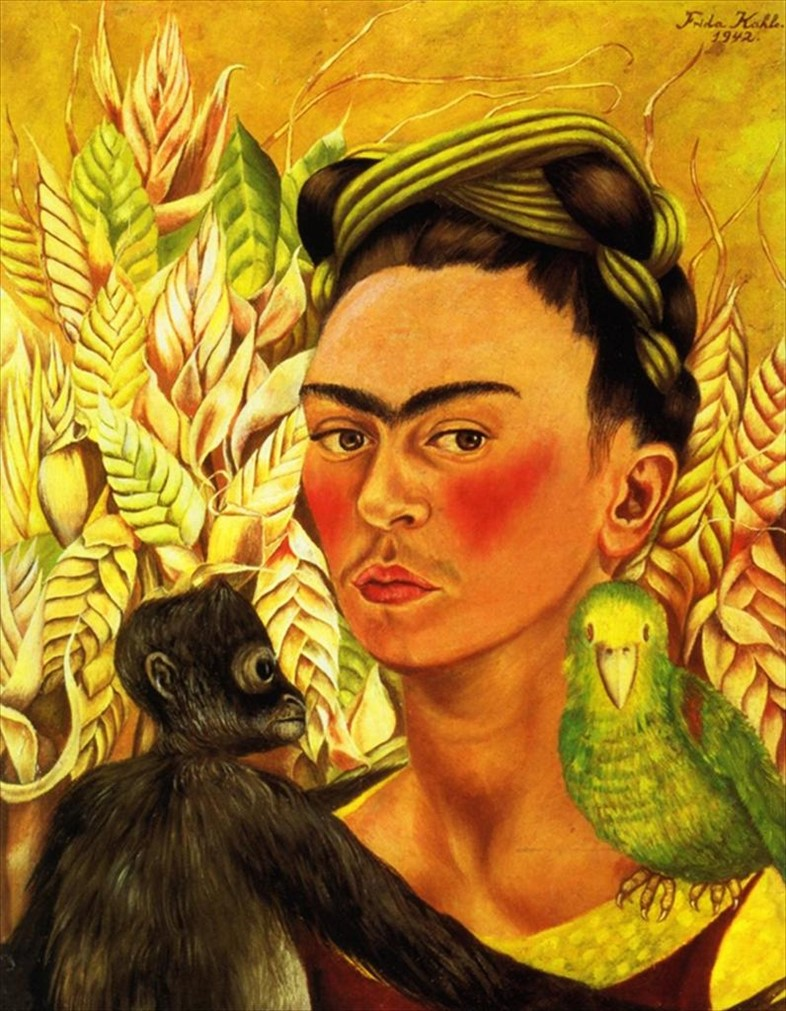 Self Portrait with Monkey and Parrot, Frida Kahlo, 1942