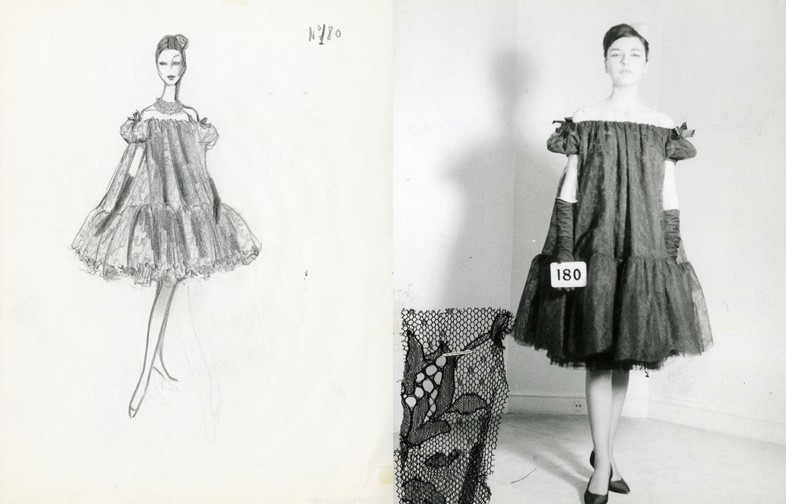 Sketch for a baby doll dress and the final garment, 1958
