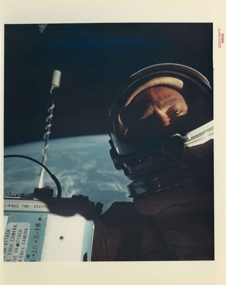 Buzz-Aldrin in the first self portrait in space, 1966