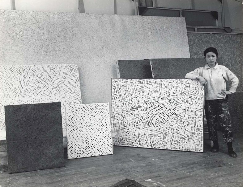 Kusama in her studio in New York, 1960