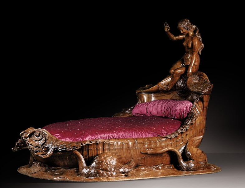 Lot 22 An exceptional carved mahogany bed, French,