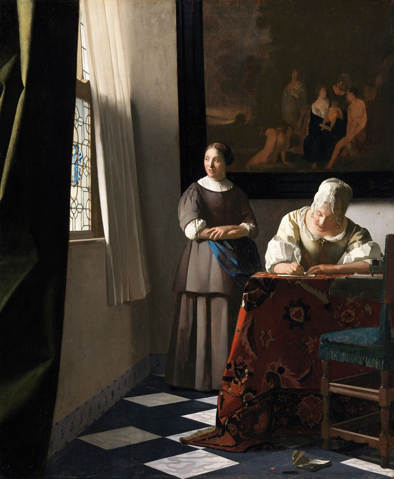 Johannes-Vermeer-(1632-to-1675),-Woman-Writing-a-L
