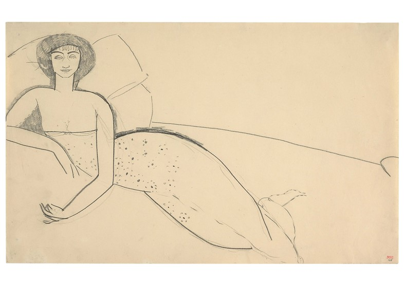 Woman Dressed in Low-Cut Gown Reclining on a Bed -